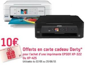 10 euros de carte cadeau sur l'achat d'une imprimante Epson