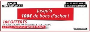 10 euros tous les 100 euros meubles et Déco Conforama