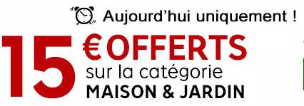 bon plan 15 euros de remise sur le rayon maison et jardin priceminister bons plans bonnes. Black Bedroom Furniture Sets. Home Design Ideas
