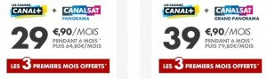 3 mois offerts Pack Canal les chaines et Canal Sat Grand Panorama