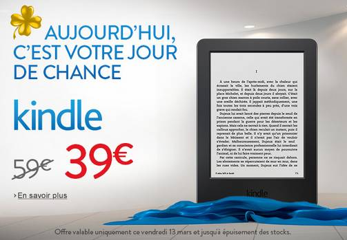 39 euros la liseuse Kindle tactile Amazon