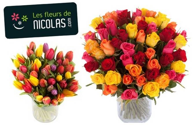 bouquet de 50 tulipes moins de 22 euros ou roses 25 euros les fleurs de nicolas. Black Bedroom Furniture Sets. Home Design Ideas