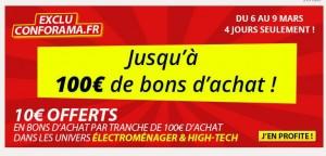 Conforama 10 euros tous les 100 euros d'achats