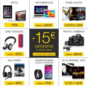 Super week-end FNAC 15 euros offerts