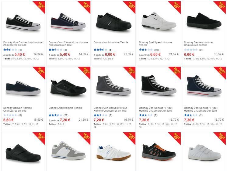 baskets Donnay homme pas cheres
