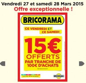 bons d'achats de 15 euros BRICORAMA