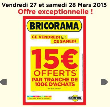 Promo Castorama 15 Par Tranche De 100 : bricorama 15 offerts en bon d 39 achat tous les 100 d ~ Dailycaller-alerts.com Idées de Décoration