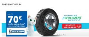 cheque cadeau pour l'achats de pneus Michelin