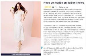 robe de marié Kiabi à 60 euros