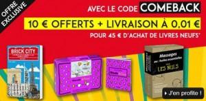 10 euros dès 45 euros d'achats de livres en promo