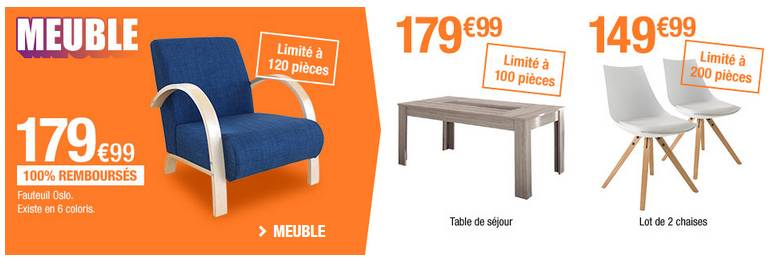Canap s chaises matelas et autres meubles 100 rembours s for Meubles auchan
