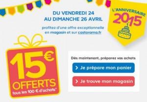 Castorama 15 euros tous les 100 euros