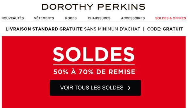 bon plan soldes dorothy perkins livraison gratuite bons plans bonnes affaires. Black Bedroom Furniture Sets. Home Design Ideas