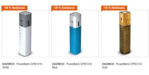 batterie externe Daewoo qui vous sera entièrement remboursé