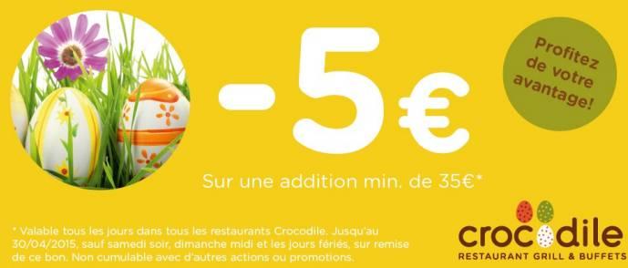 coupon restaurant crocodile 5 euros de remise sur l addition. Black Bedroom Furniture Sets. Home Design Ideas