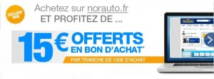 15 euros offerts tous les 150 euros d'achat sur Norauto