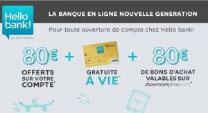160 euros offerts pour l'ouverture d'un compte Hello Bank