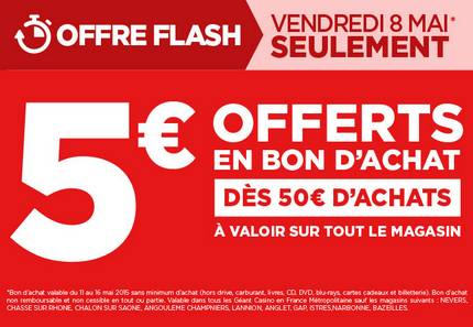 le 8 mai 5 euros en bon d achat pour 50 euros d achat chez g ant casino. Black Bedroom Furniture Sets. Home Design Ideas