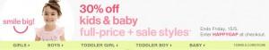 remise de 30% sur GapKids et babyGap