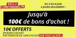 10 euros offerts par tranche de 100 euros d'achats sur tout Conforama