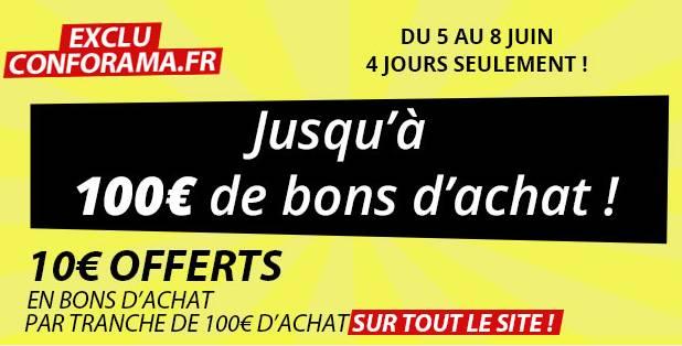 10 euros offerts par tranche de 100 euros d achats sur tout conforama jusqu lundi. Black Bedroom Furniture Sets. Home Design Ideas