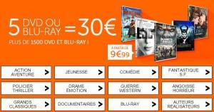 5 BLU-RAY ou DVD pour 30 euros CULTURA