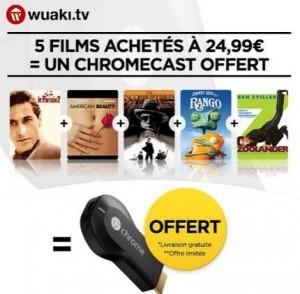 5 films VOD + Chromecast Google pour moins de 22 euros