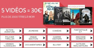 5 videos pour 30 euros Cultura