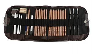 Nécessaire à dessin 18 crayons + accessoires à seulement 8,60 euros