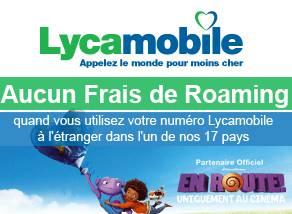 aucun frais de Roaming Lycamobile