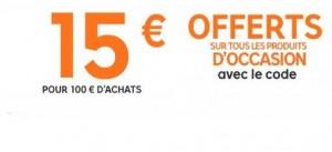 15 euros de remise sur les occasions Priceminister