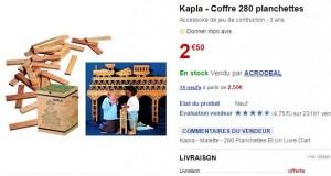 coffre de Kapla 280 planches à 2,50 euros