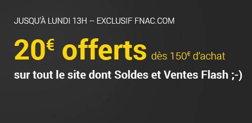 FNAC 20 euros offerts dès 150 euros