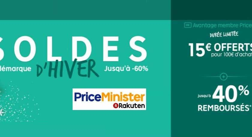 Soldes Priceminister + 15 euros offerts pour 100 euros d'achats