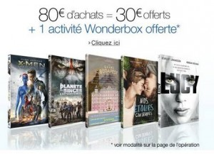 Blu-Ray DVD 30 euros de remise et 25 euros Wonderbox