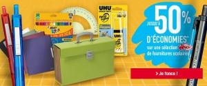 fournitures scolaire 50% remboursé sur votre carte Auchan