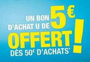 5 euros offert dès 50 euros Super U