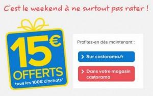 15 euros offerts tous les 100 euros jusqu'à dimanche Castorama