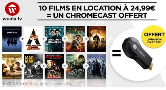 Chromecast Google + 10 films en VOD Wuaki
