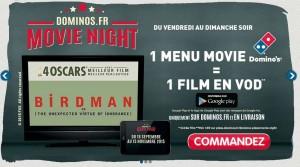 1 film gratuit Google Play pour 1 menu Movie Domino's Pizza achete