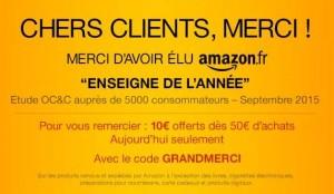10 euros de remise des 50 euros sur AMAZON