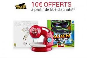 10 euros dès 50 euros d'achats sur le rayon jeux et jouets.