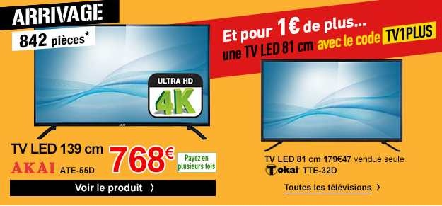 768 euros la tv ultra hd 4k akai 139 cm tv 81cm pour 1 euro electrodepot. Black Bedroom Furniture Sets. Home Design Ideas