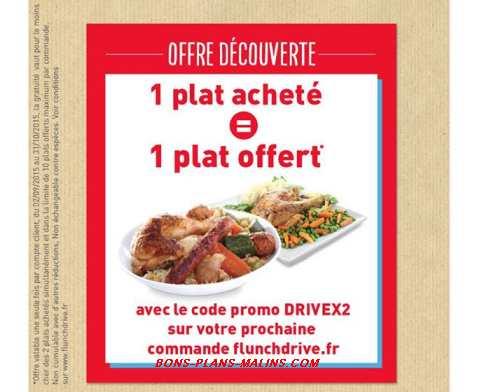 1 plat achet 1 plat gratuit chez flunch drive code promo jusqu 10 plats gratuits. Black Bedroom Furniture Sets. Home Design Ideas