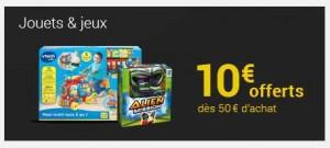 jouets jeux 10 euros offerts sur la FNAC