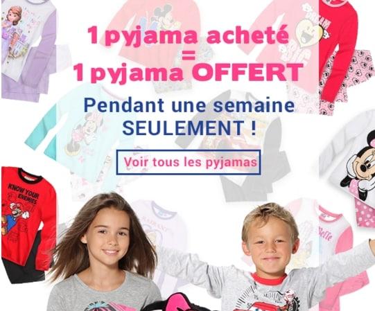 1 pyjama gratuit pour 1 pyjama acheté sur Lamaloli