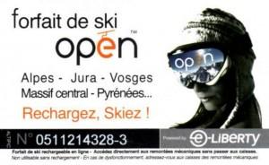 Carte Forfait ski Open pas chere