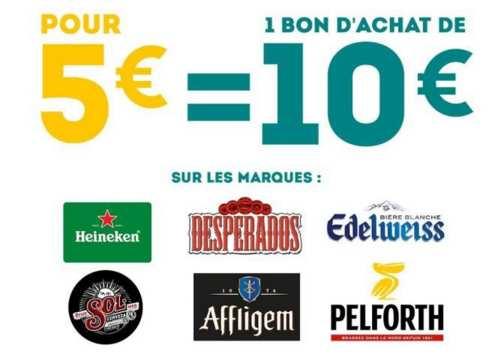 5 pour 10 d achat de bi res heineken desperados for Bon d achat id garage