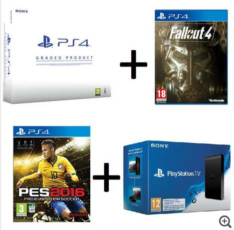 super pack 349 99 console ps4 500 go reconditionn e jeu pes 2016 fallout 4 console. Black Bedroom Furniture Sets. Home Design Ideas