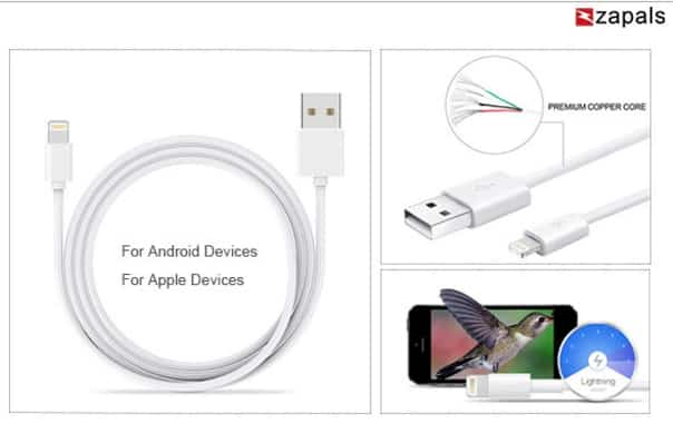 Câble synchronisation USB pour smartphone Android ou Apple